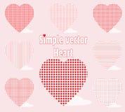Einfaches Vektorherz mit verschiedenen Universalmustern auf einem rosa Hintergrund Hintergrund beleuchtete Girlande der farbigen  Lizenzfreie Stockfotografie