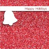 Einfaches Weihnachtskartendesign mit Glocke über rotem Funkeln backgrou Stockfotos