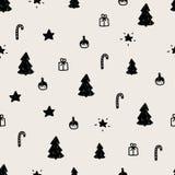 Einfaches Weihnachtsnahtloses Muster Beschaffenheit der Handgezogene neuen Jahre stock abbildung