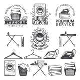 Einfarbige Aufkleber des Wäsche-Service Illustrationen von Waschmaschinen stock abbildung