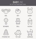 Einfarbige Babyikonen in der linearen Art Lizenzfreies Stockfoto