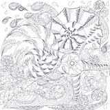 Einfarbige Hand gezeichnete Gekritzelstarfish und -oberteile auf Wellen Stockfotografie