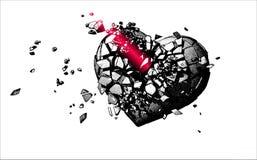 Einfarbige Illustration des defekten Herzens des Stiches Lizenzfreies Stockfoto