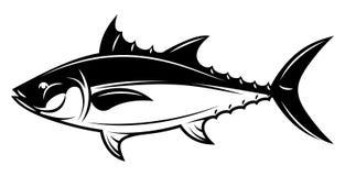 Einfarbige Illustration des Vektors mit Thunfisch für Menüdesign lizenzfreie abbildung