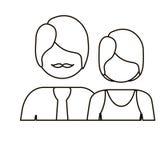 einfarbige Kontur mit halben Körperpaaren ohne Gesicht sie kurzes Haar und er mit dem Schnurrbart lizenzfreie abbildung