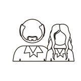 einfarbige Kontur mit halben Körperpaaren ohne Gesicht sie lang Haar und er mit Bart und kahles lizenzfreie abbildung