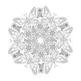 Einfarbige Mendie-Mandala mit Schmetterlingen und Blumen Zenart spornte an Stockfotos