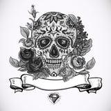 Einfarbige Schädel-, Diamant und Blumen-Karte Lizenzfreie Stockbilder