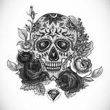 Einfarbige Schädel-, Diamant und Blumen-Karte Lizenzfreie Stockfotos