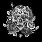 Einfarbige Schädel-, Diamant und Blumen-Karte Stockbild