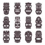 Einfarbige Vektorillustrationen stellten von Stammes- Gott tiki ein vektor abbildung