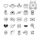 Einfarbige Zeichen und Symbollinie Ikonen stellten vom Herzen und von den romantischen Elementen für Valentinsgrußtag ein Stockbilder