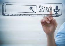 Einfarbiger Hintergrund und Grafiken mit dem Zeigen der Hand Lizenzfreies Stockbild