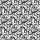 Einfarbiger nahtloser Mustervektor Zentangle Lizenzfreies Stockbild