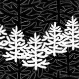 Einfarbiges horizontales nahtloses Muster mit Weihnachtsbäumen auf Schwarzem stockfoto