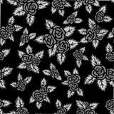 Einfarbiges nahtloses Muster Hand gezeichnete graue Rosen auf schwarzem Hintergrund lizenzfreie abbildung