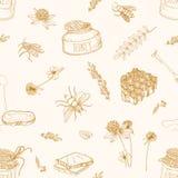 Einfarbiges nahtloses Muster mit den Honig-, Bienen-, Schöpflöffel-, Brot-, Bienenwaben-, Klee-, Linde- und Akazienanlagen gezeic lizenzfreie abbildung