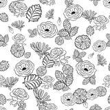 Einfarbiges nahtloses Schwarzweiss-Muster Stockfoto