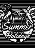 Einfarbiges Retro- Plakat mit den Palmen, zum einer touristischen Reise zu annoncieren Stockfotos