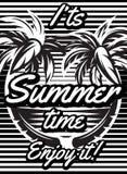 Einfarbiges Retro- Plakat mit den Palmen, zum einer touristischen Reise zu annoncieren Lizenzfreie Stockfotografie