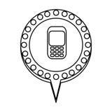 einfarbiges Schattenbild des Handys in der Kreisrede mit der Kontur punktiert und Endstück lizenzfreie abbildung