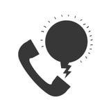 Einfarbiges Schattenbild mit dem Telefon, das Mitteilung nennt Stockfoto