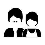 einfarbiges Schattenbild mit halben Körperpaaren ohne Gesicht sie kurzes Haar und er mit dem Schnurrbart vektor abbildung