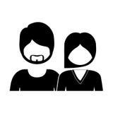 einfarbiges Schattenbild mit halben Körperpaaren ohne Gesicht sie lang Haar und er mit Bart vektor abbildung