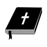 einfarbiges Schattenbild mit heiliger Bibel mit Band lizenzfreie abbildung