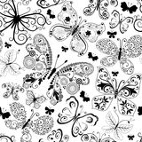 Einfarbiges schwarzes nahtloses Muster Stockfotografie