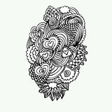 Einfarbiges Zentangle-Gekritzel mit Herzvektorillustration Stockfotos