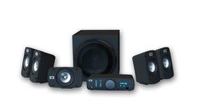 Einfassung - solider Audio-Satz, Verstärker mit sechs Sprechern auf weißem Hintergrund Lizenzfreies Stockbild