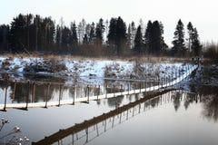 Einfrierender Fluss des Panoramas Lizenzfreies Stockfoto
