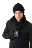 Einfrierender Mann mit Winterkleidung Lizenzfreie Stockfotografie