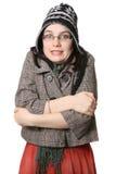 Einfrierendes kaltes Mädchen Lizenzfreie Stockfotografie