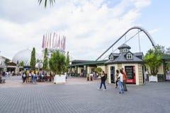 Eingang des Europa-Parks im Rost, Deutschland Stockbild