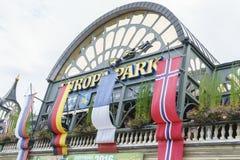 Eingang des Europa-Parks im Rost, Deutschland Stockbilder