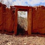 Eingang des luftgetrockneten Ziegelsteines, keine Tür Stockbild