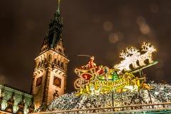 Eingang des nostalgischen Weihnachtsmarktes Hamburgs Stockbild