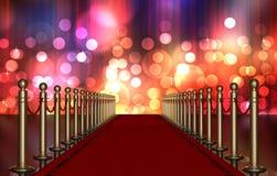 Eingang des roten Teppichs mit multi farbigem Leuchte-Impuls lizenzfreie abbildung