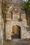 Eingang des venetianischen Schlosses von Agia Mavra - griechische Insel von Lefkas Stockfotos