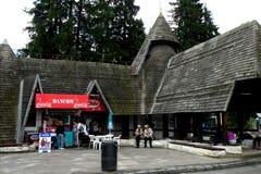 Eingang in Poiana Brasov, Skiwinterstation Stockfoto