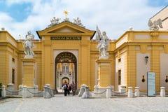 Eingang von Melk-Abtei, Österreich Lizenzfreie Stockfotos