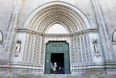Eingang von San Fortunato in Todi, Italien Lizenzfreies Stockbild