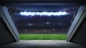 Eingang zu belichtetem Fußballstadion voll von Fans vektor abbildung