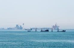 Eingang zu Dammam-Hafen Stockfotos