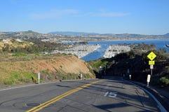 Eingang zu Dana Point Harbor, Süd-Kalifornien Lizenzfreie Stockfotografie