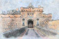 Eingang zu Edinburgh-Schloss stockbilder