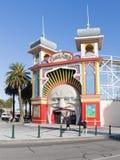 Eingang zum alten Vergnügungspark, Melbourne lizenzfreies stockbild
