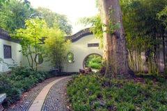 Eingang zum chinesischen Garten in Frankfurt-am-Main Lizenzfreies Stockbild